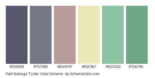 Path Belongs to Me - Color scheme palette thumbnail - #55586b #767988 #ba9c9f #e8e9b7 #8dc5a2 #70a786