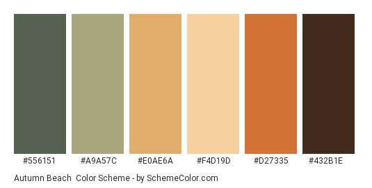 Autumn Beach - Color scheme palette thumbnail - #556151 #a9a57c #e0ae6a #f4d19d #d27335 #432b1e