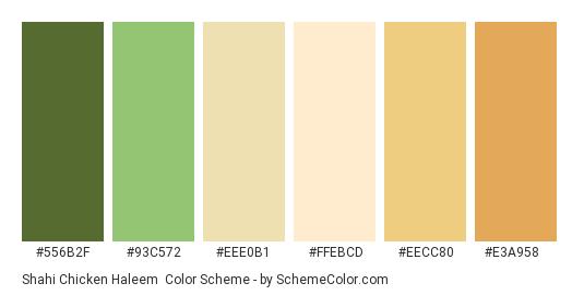 Shahi Chicken Haleem - Color scheme palette thumbnail - #556B2F #93C572 #EEE0B1 #FFEBCD #EECC80 #E3A958
