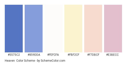 Heaven - Color scheme palette thumbnail - #5575c2 #859dda #fefcfa #fbf2cf #f7dbcf #e3becc