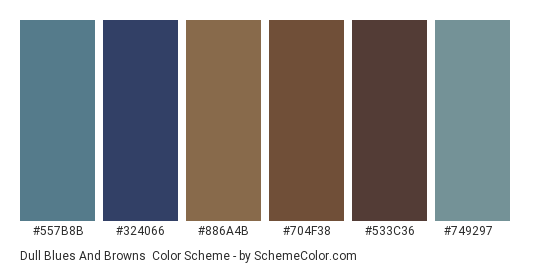 Dull Blues and Browns - Color scheme palette thumbnail - #557b8b #324066 #886a4b #704f38 #533c36 #749297