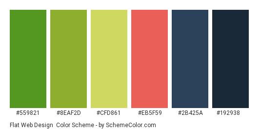 Flat Web Design - Color scheme palette thumbnail - #559821 #8EAF2D #CFD861 #EB5F59 #2B425A #192938