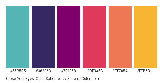 Close Your Eyes - Color scheme palette thumbnail - #55B5B5 #362863 #7F0068 #DF3A5B #EF7854 #F7B531