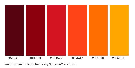 Autumn Fire - Color scheme palette thumbnail - #560410 #8c000e #d31522 #ff4417 #ff6e00 #ffa600