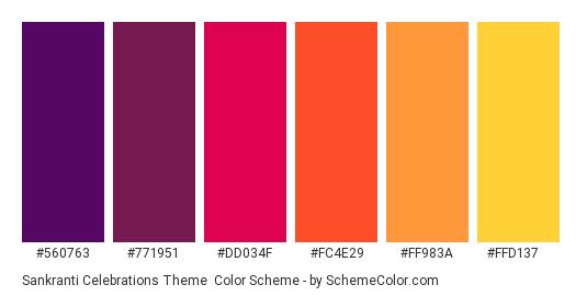 Sankranti Celebrations Theme - Color scheme palette thumbnail - #560763 #771951 #DD034F #FC4E29 #FF983A #FFD137