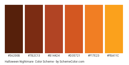 Halloween Nightmare - Color scheme palette thumbnail - #56200b #7b2c13 #b14424 #d35721 #f17e23 #fba11c