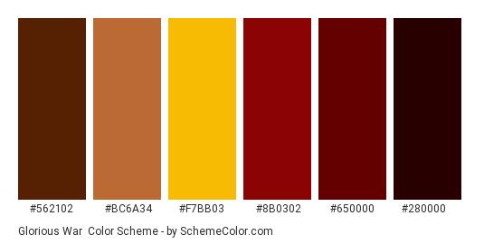 Glorious War - Color scheme palette thumbnail - #562102 #bc6a34 #f7bb03 #8b0302 #650000 #280000
