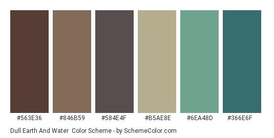 Dull Earth and Water - Color scheme palette thumbnail - #563e36 #846b59 #584e4f #b5ae8e #6ea48d #366e6f