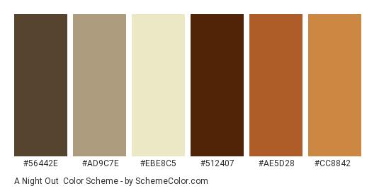 A Night Out - Color scheme palette thumbnail - #56442e #ad9c7e #ebe8c5 #512407 #ae5d28 #cc8842