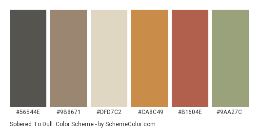 Sobered To Dull - Color scheme palette thumbnail - #56544e #9b8671 #dfd7c2 #ca8c49 #b1604e #9aa27c