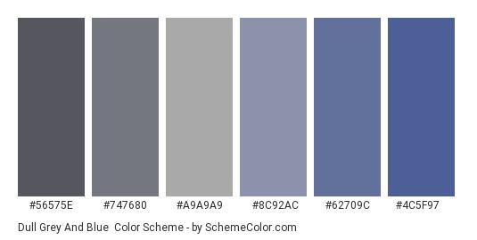 Dull Grey and Blue - Color scheme palette thumbnail - #56575E #747680 #A9A9A9 #8C92AC #62709C #4C5F97