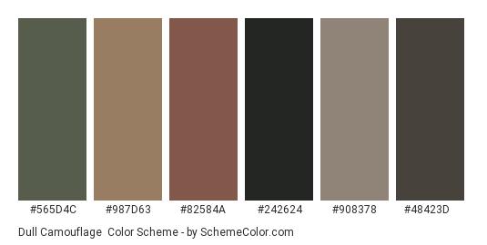 Dull Camouflage - Color scheme palette thumbnail - #565d4c #987d63 #82584a #242624 #908378 #48423d