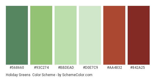 Holiday Greens - Color scheme palette thumbnail - #568660 #93C274 #BBDEAD #D0E7C9 #AA4832 #842A25