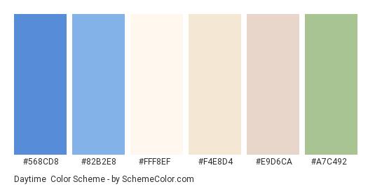 Daytime - Color scheme palette thumbnail - #568cd8 #82b2e8 #fff8ef #f4e8d4 #e9d6ca #a7c492