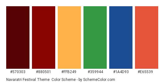 Navaratri Festival Theme - Color scheme palette thumbnail - #570303 #880501 #FFB249 #359944 #1A4D93 #E65539