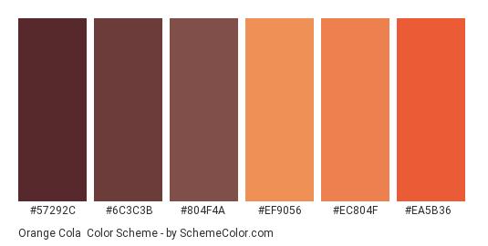 Orange Cola - Color scheme palette thumbnail - #57292c #6c3c3b #804f4a #ef9056 #ec804f #ea5b36