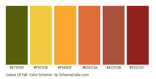 Colors of Fall - Color scheme palette thumbnail - #575f0d #f3c93e #f9a82f #e06c3a #ac513b #93221d