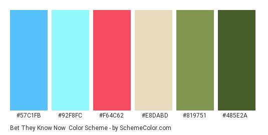 Bet They Know Now - Color scheme palette thumbnail - #57C1FB #92F8FC #F64C62 #E8DABD #819751 #485E2A