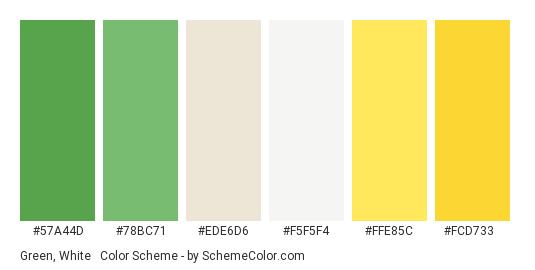 Green, White & Yellow - Color scheme palette thumbnail - #57a44d #78bc71 #ede6d6 #f5f5f4 #ffe85c #fcd733