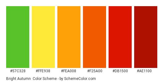 Bright Autumn - Color scheme palette thumbnail - #57c328 #ffe938 #fea008 #f25a00 #db1500 #ae1100