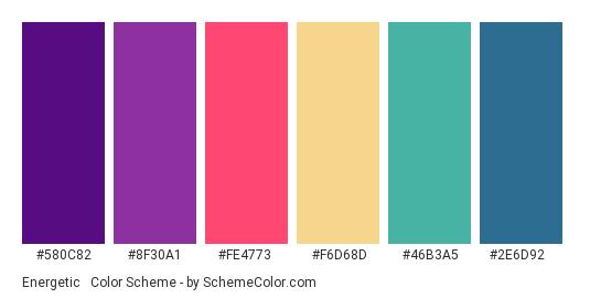 Energetic & Vibrant - Color scheme palette thumbnail - #580C82 #8F30A1 #FE4773 #F6D68D #46B3A5 #2E6D92