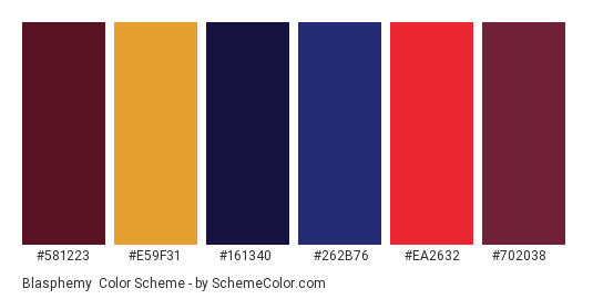 Blasphemy - Color scheme palette thumbnail - #581223 #e59f31 #161340 #262b76 #ea2632 #702038