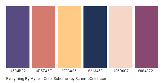 Everything By Myself - Color scheme palette thumbnail - #584B82 #D57A6F #FFCA85 #213458 #F6D6C7 #884872