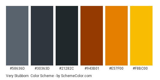 Very Stubborn - Color scheme palette thumbnail - #58636D #30363D #21282C #943B01 #E57F00 #F8BC00