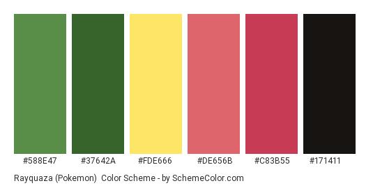 Rayquaza (Pokemon) - Color scheme palette thumbnail - #588E47 #37642A #FDE666 #DE656B #C83B55 #171411