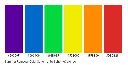 Summer Rainbow - Color scheme palette thumbnail - #59009f #0069c9 #01d93f #f0ec00 #ff8b00 #db2b28