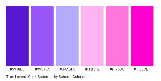 True Lovers - Color scheme palette thumbnail - #5918D0 #9957FA #B4ABFC #FFB3F2 #FF76DC #FF00CE