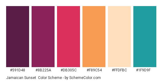Jamaican Sunset - Color scheme palette thumbnail - #591d48 #8b225a #db305c #f89c54 #ffdfbc #1f9d9f