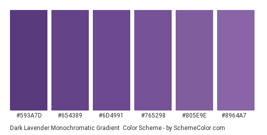 Dark Lavender Monochromatic Gradient - Color scheme palette thumbnail - #593a7d #654389 #6d4991 #765298 #805e9e #8964a7
