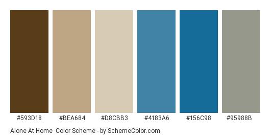Alone at Home - Color scheme palette thumbnail - #593d18 #bea684 #d8cbb3 #4183a6 #156c98 #95988b