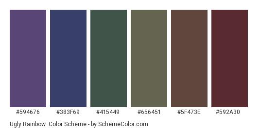 Ugly Rainbow - Color scheme palette thumbnail - #594676 #383f69 #415449 #656451 #5f473e #592a30
