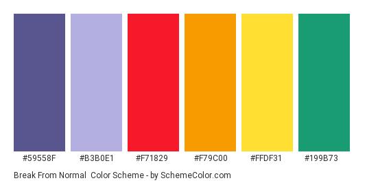 Break from Normal - Color scheme palette thumbnail - #59558f #b3b0e1 #f71829 #f79c00 #ffdf31 #199b73