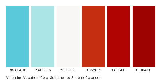 Valentine Vacation - Color scheme palette thumbnail - #5ACADB #ACE5E6 #F9F6F6 #C62E12 #AF0401 #9C0401