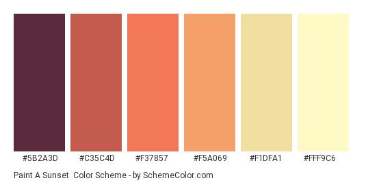 Paint a Sunset - Color scheme palette thumbnail - #5B2A3D #C35C4D #F37857 #F5A069 #F1DFA1 #FFF9C6