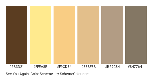 See You Again - Color scheme palette thumbnail - #5B3D21 #FFEA8E #F9CD84 #E3BF8B #B29C84 #847764