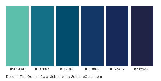 Deep in the Ocean - Color scheme palette thumbnail - #5CBFAC #137087 #014D6D #113866 #152A59 #202345