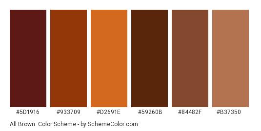 All brown - Color scheme palette thumbnail - #5D1916 #933709 #D2691E #59260B #84482F #B37350