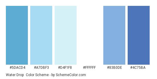 Water Drop - Color scheme palette thumbnail - #5DACD4 #A7DBF3 #D4F1F8 #FFFFFF #83B0DE #4C75BA