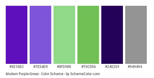 Modern Purple-Green - Color scheme palette thumbnail - #5E10BC #7E54D9 #8fd988 #70c056 #240259 #949494