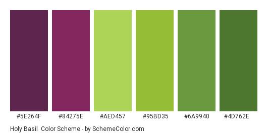 Holy Basil - Color scheme palette thumbnail - #5E264F #84275E #AED457 #95BD35 #6A9940 #4D762E
