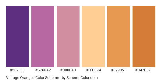 Vintage Orange & Purple - Color scheme palette thumbnail - #5E2F80 #B768A2 #D08EA0 #FFCE94 #E79851 #D47D37