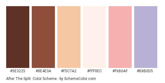 After the Split - Color scheme palette thumbnail - #5E3225 #8E4E3A #F5C7A2 #FFF0EC #F6B0AF #B8B0D5