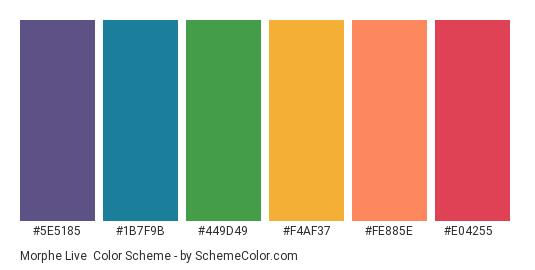 Morphe Live - Color scheme palette thumbnail - #5E5185 #1B7F9B #449D49 #F4AF37 #FE885E #E04255