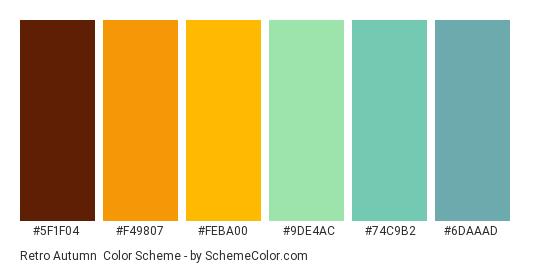 Retro Autumn - Color scheme palette thumbnail - #5F1F04 #F49807 #FEBA00 #9DE4AC #74C9B2 #6DAAAD