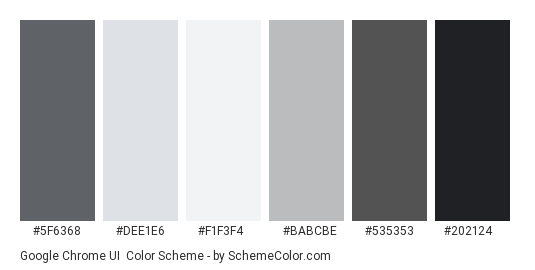 Google Chrome UI - Color scheme palette thumbnail - #5F6368 #DEE1E6 #F1F3F4 #BABCBE #535353 #202124