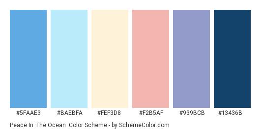 Peace in the Ocean - Color scheme palette thumbnail - #5FAAE3 #BAEBFA #FEF3D8 #F2B5AF #939BCB #13436B